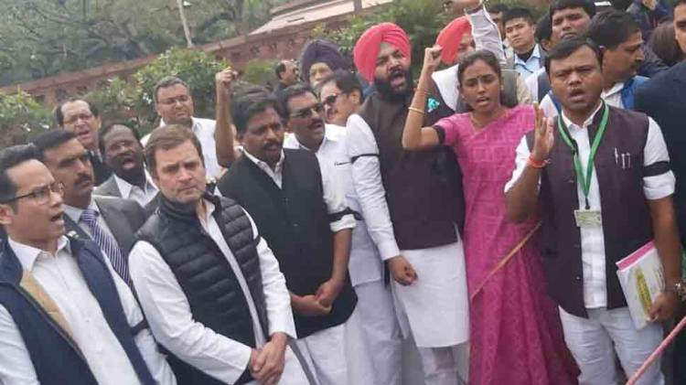 Rahul Gandhi leads protest outside Parliament against suspension of MPs, Delhi riots
